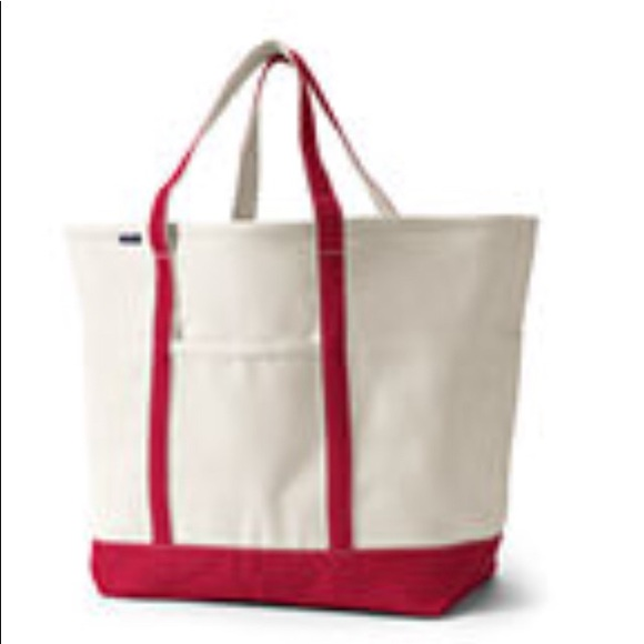 Large Open Top Canvas Tote Bag Lands End iO7eIW8A